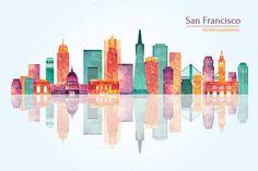 San Francisco skyline by LisaKolbasa on Creative Market