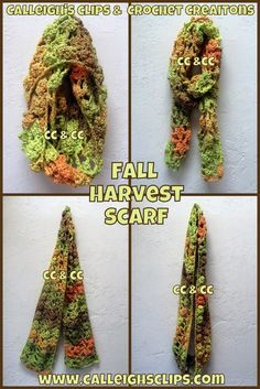 Calleigh's Clips & Crochet Creations: Free Crochet Pattern : Fall Harvest Infinity Scarf