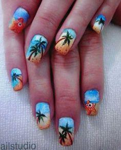 nails - Palm Tree Nail Art Ideas That You Will Love Cruise Nails, Vacation Nails, Beach Nail Art, Beach Nails, Palm Tree Nail Art, Nailart, Bright Summer Nails, Summer Colors, Palmiers