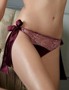 Fleur of England Berry Kiss Silk & Lace Bow Tie Brief Front