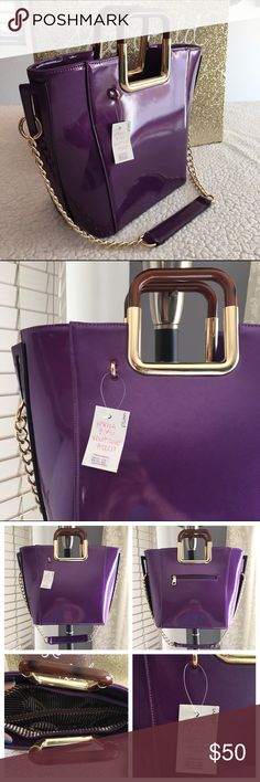 """Princess Plum handbag  Brand New Boutique Item (handbag)  ONLY 1 of this color and style available! -Brand: sold by Karma&Cali (retails for $90) -Color: purple with gold hardware  -Dimensions: 15"""" length, 12"""" height, 6"""" width -Details: back pocket, divider pocket, interior pocket, two interior pouches, zipper closure, & can be carried w/chain strap  -Other: creases iron out with use,lighting varies color/cannot be restocked/open to  •good o f f e r s• using Posh's offer button/ **soft…"""