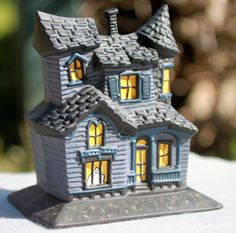 ceramic haunted house blue halloween decoration with ghosts on etsy 3500 - Ceramic Halloween Decorations