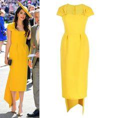 This dress is simple yet special which make it suits to various occasions, e. events, night, club, even office. Lining& no lining. GET THE LOOKS. Royal Wedding Guests Outfits, Royal Wedding Gowns, Royal Weddings, Blue Dress Outfits, Casual Dresses, Fashion Dresses, Yellow Fashion, Royal Fashion, Mustard Yellow Dresses