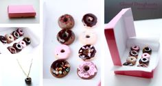 Doughnuts, polymer clay! DIY necklaces.   Toppings: eye shadow, pencil shavings, beads.