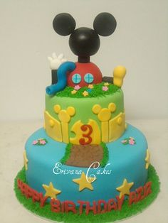 mickey mouse clubhouse cake birthday party tier fondant celebrate minnie goofy disney