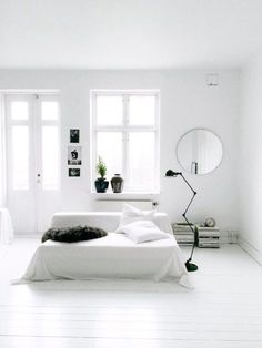 bedroom, white and bright, minimal