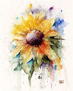Image result for Sunflower Watercolor