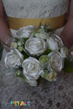 Pure White & Green Foliage Satin Ribbon Rose by CuriousPetals, £35.00