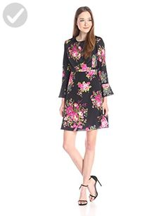 Betsey Johnson Women's Bell Sleeve Floral Dres, Black/Multi, 6 - All about women (*Amazon Partner-Link)