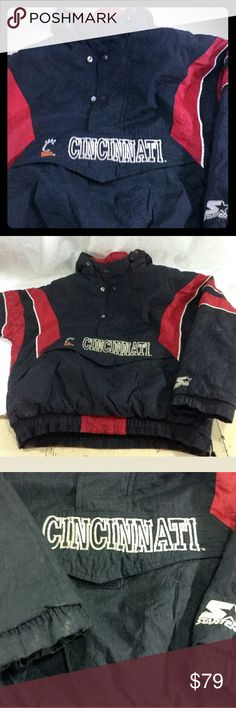 Vintage Starter Jacket Cincinnati Bearcats Sz Smal Very cool vintage starter jacket  Team: Cincinnati Bearcats  Era:    90's I think Condition:  needs a lite cleaning, no tears or holes Size small Starter Jackets & Coats