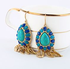 Wholesale vintage fashion turquoise waterdrop dangle earrings | http://truelightcollection.com/ ✿. ✿ ✿