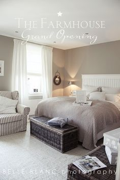 paint (gray), white curtains, white bedding w/ gray blanket, chair