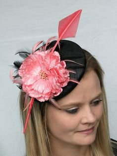 107430c7 Coral and black percher fascinator button cocktail hat Pillbox Fascinators,  Race Day Fashion, Coral