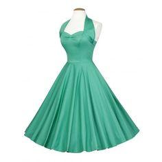 1950s Halterneck Jade Sateen Dress ($115) ❤ liked on Polyvore featuring dresses, vintage dresses, green halter top, vintage print dress, vintage halter dress and green dress