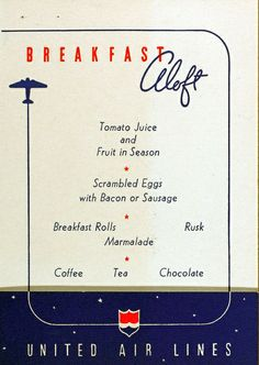 United Airlines breakfast menu