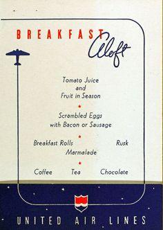 United Airlines breakfast menu