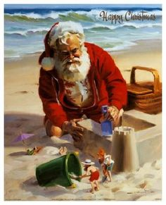 Santa and elves build a sand castle - by Tom Browning -- (coastal Christmas, beach, seashore, illustration, art) Tropical Christmas, Beach Christmas, Coastal Christmas, Christmas In July, Father Christmas, Christmas Pictures, Santa Christmas, Vintage Christmas, Santa Pictures