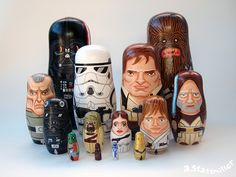 San Francisco-based illustrator and designer Andy Stattmiller has hand-painted an excellent collection of nesting dolls that are all inspired by famous television shows and movies