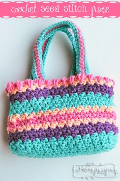 Crochet Seed Stitch Purse – Free Crochet Pattern from Sarah in her messy, creative corner of the world My Merry Messy Life. CQ ¯\_(ツ)_/¯  She has the coolest stuff there!