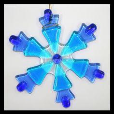 Glassworks Northwest - Blue Snowflake - Fused Glass Ornament. $20.00, via Etsy.