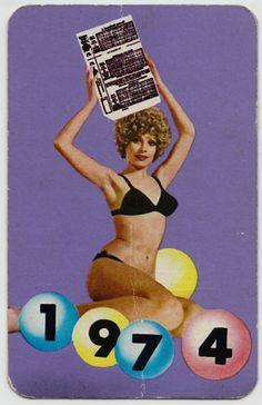 Boldog új évet kíván a Sportfogadási és Lottó Igazgatóság Kártyanaptár, 1974