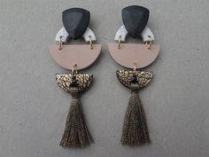 Tribal Tassel Earring Rose / Tassel Earrings / Polymer Clay