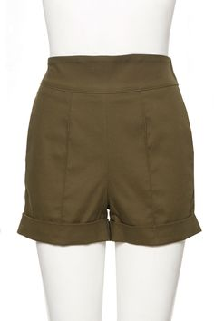 Laura Byrnes High Waist shorts in Olive Stretch Twill | Pinup Girl Clothing