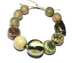 Ceramic Bead Set Handmade Textured Stoneware Organic by Grubbi