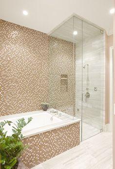 Custom Remodel In Summerlin, Las Vegas NV modern bathroom Bathroom Windows In Shower, Window In Shower, Small Bathroom, Master Bathroom, Brown Bathroom, Bathroom Bath, Bath Shower Combination, Tub Shower Combo, Shower Tub