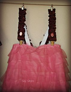 Tulle Skirt Pink Brown Suspenders by SkySimone