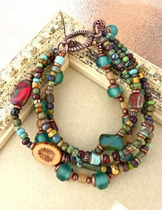 Recycled glass, Czech Picasso glass and copper bracelet -  - McKee Jewelry Designs - 3