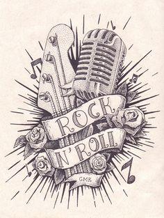 Rock n Roll - Tattoo em Pontilhismo on Behance Rock And Roll Tattoo, Tatouage Rock And Roll, Rock Tattoo, Get A Tattoo, Tattoo Hand, Tattoo Small, Music Tattoo Designs, Music Tattoos, Body Art Tattoos