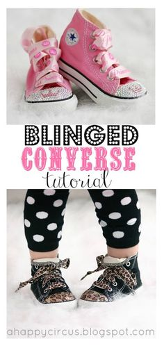 Blinged Converse Tutorial by A Happy Circus: how cute are these?? now i need to find the shoes at a kids sale.