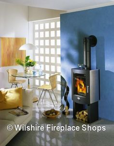 Modern Design Wood Burning Stove with Built-in Log Storage