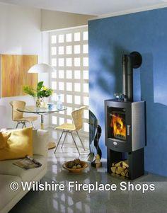 Modern Design Wood Burning Stove with Built-in Log Storage