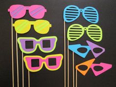 8 Piece Photo Booth Photobooth Party Props - Totally Tubular 80's Glasses