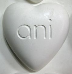 """Ani Soap Canada Heart Shape Soap Bar Plaster Prototype. Sculpted Heart shape with curved surface, 3"""" long x 3"""" wide x 1.25"""" thick. Company is located in Ontario, Canada."""