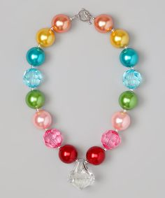 Take a look at this Peach & Blue Pastel Bead Necklace by Daizy Bugz on #zulily today!