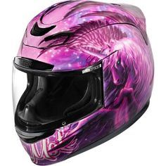 Icon Airmada Sweet Dreams Helmet A Pegasus unicorn all in hot pink. This is not just an outstanding helmet; it's a work of spectacular art. Glowing eyes, shagged main, surrounded by wings. Pink Motorcycle Helmet, Full Face Motorcycle Helmets, Custom Motorcycle Helmets, Custom Helmets, Full Face Helmets, Motorcycle Outfit, Motorcycle Icon, Bike Helmets, Cycling Helmet