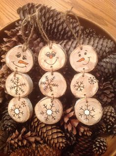 A personal favorite from my Etsy shop https://www.etsy.com/listing/483064273/wood-burned-snowman-ornaments-set-of-3