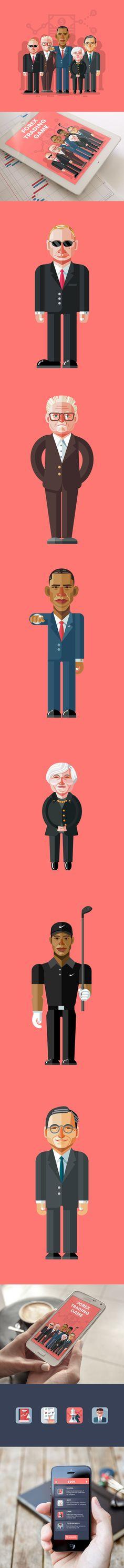 Illustration Vladimir Putin Russia- Obama United States - Angela Merkel Germany Flat Design