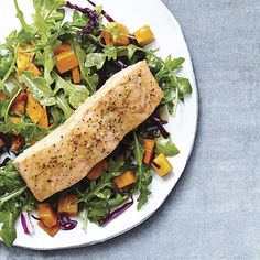 Roasted Salmon & Butternut Squash Salad with a Maple Vinaigrette