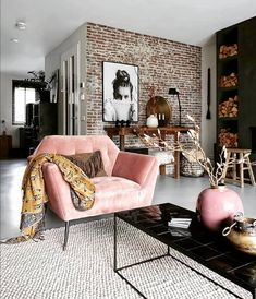 Inspirational ideas about Interior Interior Design and Home Decorating Style for. - Inspirational ideas about Interior Interior Design and Home Decorating Style for Living Room Bedroo - Home Living Room, Interior Design Living Room, Living Room Designs, Living Spaces, Apartment Living, Interior Livingroom, Apartment Interior, Interior Paint, Living Room Brick Wall