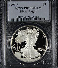 1991 S Silver Eagle PCGS PR70 DCAM PROOF - Outstanding example!!! Finger Lakes Numismatics.