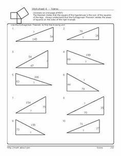 Pythagorean Theorem Problems Worksheets   Pythagoran Theorem ...