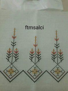 This Pin was discovered by Yur Embroidery On Kurtis, Folk Embroidery, Silk Ribbon Embroidery, Cross Stitch Embroidery, Embroidery Patterns, Cross Stitch Patterns, Tile Patterns, Cross Stitch Gallery, Palestinian Embroidery