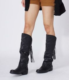 Fringe Detail Tall Boots