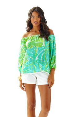f2ae2c5403eec The Enna Top is the perfect off the shoulder top. Wear this easy fitting top.  Lilly Pulitzer