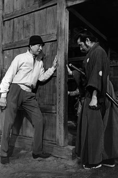 Kurosawa and Toshiro Mifune on the set of Sanjuro (Akira Kurosawa, 1962)