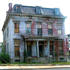 The Sellers Mansion, Baltimore MD - built 1868. Although carefully restored in the 1960s and adapted to a variety of community uses through the early 1990's, the mansion currently stands vacant and in an advanced state of deterioration.